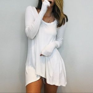Free People white oversized long sleeve thermal